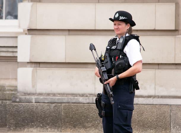 armed policewoman