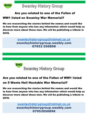 Swanley History Group Memorial flyer