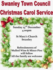 Carol Service 23 December 4pm at St Mary's Church, Swanley. All Welcome
