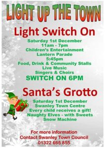 Light Switch On, Saturday 1 December 11am - 7pm  Santa's Grotto, Snow Machine, Naughty Elves and Lantern Parade