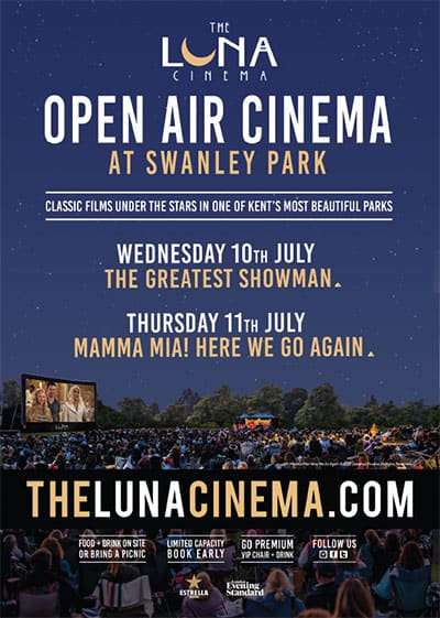 Luna cinema at Swanley Park 10th July showing Greatest Showman 11th July Mamma Mia! Here We Go Again