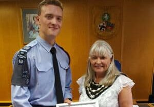 Mayors Cadet,CWO Thomas Longbon with Cllr Lesley Dyball