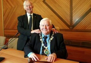 New Chairman, Cllr Larry Abraham with former Chairman, Cllr Simon Raikes